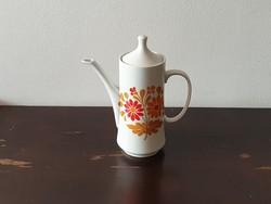 Alföldi teáskanna népies narancssárga virág mintával fim porcelán kávé kiöntő