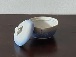 Kék virágos Hollóházi porcelán cukor ékszer tartó bonbonier kézzel festett mintával