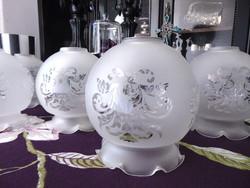 6 db üveg lámpa búra barokkos mintával