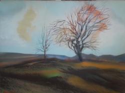 DOBROVITS FERENC: Táj fákkal (olaj-farost 60x80) tájkép, XX. század