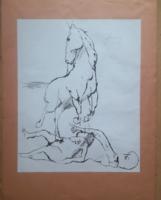 SZALAY LAJOS: Lovas jelenet (szitanyomat tusrajz után, 57x42 cm) állat