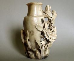 Régi retró kínai kézzel faragott zsírkő faragás szobor figura virág róka váza dísztárgy