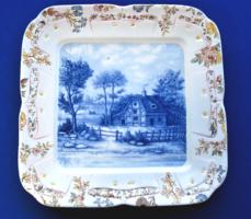 Antik, francia Sarreguemines fajansz tájképes fali tányér (1800-as évek vége)