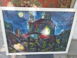 Orosz híres festő alkotása Vincent van Gogh stílusában. 70 cm 100 cm