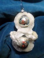 Régi  zsenília és üveg karácsonyfadísz / eszkimó , sérülésmentes állapotban .