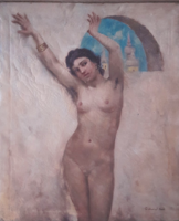 SZABOLCSI JENŐ: Meztelen táncoslány akt, templomtoronnyal a háttérben (olaj-vászon, 62,5x71,5)