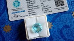 6.85 karátos gyémánt formájú kék akvamarin drágakő tanúsítvánnyal