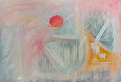 """Szabó Kata: """"Álom"""" abstract  akril festmény, feszített vászon,  40 x 60 cm, szignózott"""