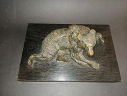 Nagyméretű nehéz bronz medve fa talapzaton - EP
