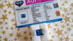 5.85 karátos tanzániai kék spinell drágakő tanúsítvánnyal