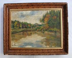 Impresszionista jellegű, tóparti tájrészletet ábrázoló festmény