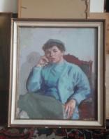 HÖLGYPORTRÉ - Ősz Dénes? (olajfestmény kerettel 43x49 cm) ülő nő arcképe