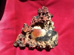 Régi  kínai faragott kő, ásvány virágokkal madarakkal, váza antique chinese carved stone vase