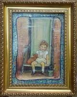 A nevetés. 40x30 cm-es kép. MŰTEREMBŐL.Egy retró kisfiú. Károlyfi Zsófia Prima díjas alkotó műve.