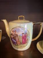 Gyönyörű,aranyozott teáskészlet 6 csészével,kiöntővel,cukortartóval