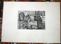 Túry Mária 1930-1992 rézkarc  61 x  42,5, 29 x 20 cm.