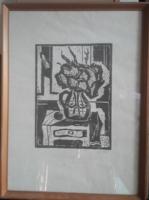 KÁDÁR: Fekete- fehér csendélet (nyomat, 62,5x46) geometrikus stílus, virágábrázolás, modernista.