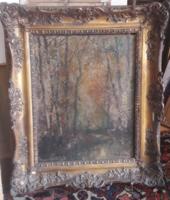 KASZNÁR RING JENŐ: Őszi erdő (olaj-vászon,58x66 cm) fák, erdei út, meleg színek, szép blondel keret