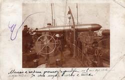 Bolgár haditengerészet, 1913, torpedó beemelése, képeslap méretű, ritka