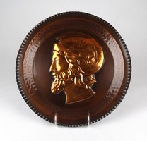 1E956 Antik görög katona díszes réz falitál dísztál 29 cm