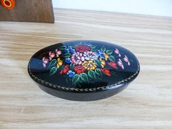 Retro,vintage gyönyörűen festett orosz fém díszdoboz