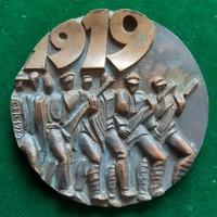 """Csíkszentmihályi Róbert: """"1919"""", bronz plakett"""