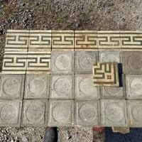 Zöld meander mintás antik cementlap