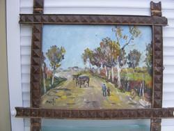 Bánfi József  Szekérút olaj-karton cca 50x60