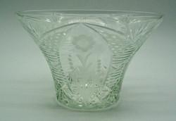 B765 Antik gyönyörű kristályüveg kaspó 1 Ft-ról - hibátlan, szép állapotban