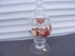 Üveg bonbonier kézzel festett jelzett