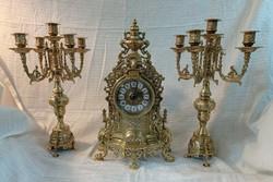Kandalló óra szett-Barokk stilus. Aranyozott bronz/réz. 3 db-os