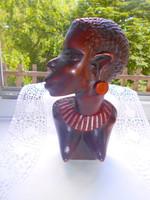 Afrikai faragott  súlyos női fej 21 cm