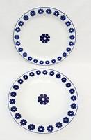 Hollóházi porcelán kék amőbás tányér 2 darab