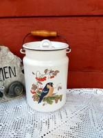Gyönyörű Zománcos Zománcozott madaras tejeskanna kanna, nosztalgia darab paraszti dekoráció