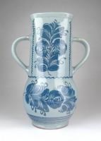 1E958 Régi kék mázas kerámia viaszöntő forma váza 29.5 cm