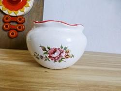 Retro,vintage fodros szájú,rózsa mintás kerámia váza