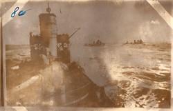 1917 hadihajós kép, tenger, hajók, ritka, képeslapméret, élőben kicsit sötétebb