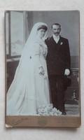 Antik esküvői fotó Gárdi Imre Kiskunfélegyháza Csongrád műtermi fénykép menyasszony vőlegény