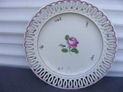 WIEN 1824 ALTWIEN híres bécsi rózsás dekor porcelán falitányér áttört