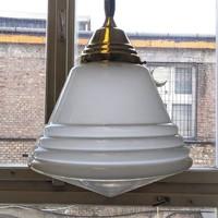 Art nouveau - Art deco réz mennyezeti lámpa felújítva - Philips - Phililite - tejüveg+savmart búra
