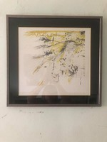 """Hans mendler (1950-) """"ausfall"""" -success-yellow-composition """"lithograph 1992 limited edition: 127/200"""