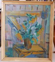 Olaj farost festmény Gyovai jelzéssel. Asztali virágcsendélet. Kortárs festmény.