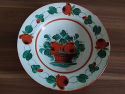 Hollóházi kosaras antik fali tányér