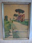 Jelzett régi akvarell festmény