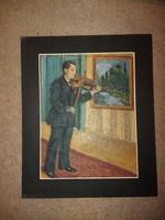 Festmény, hegedűművész, olaj, karton, üveglap, méret jelezve!