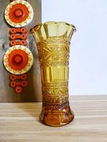 Gyönyörű antik,borostyán üveg váza