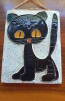Iparművészeti cica kerámia kép.