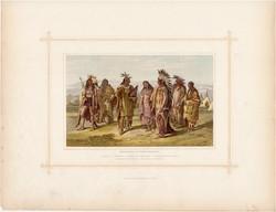 Indiánok, litográfia 1882, eredeti, népfaj, indián, Amerika, észak, sziú, dakota, pawnee, assineboin