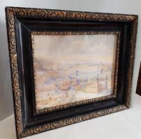 Turi-Jobbágy József Budapest részlet Lánchíddal, Parlamenttel aquarell, karton 51 x 40 cm
