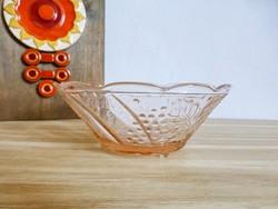Retro,vintage rózsaszín,lábakon álló,szőlő mintás üveg tál